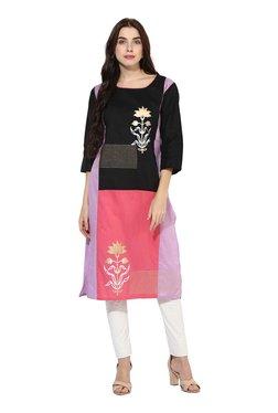 Mytri Black & Pink Printed Straight Kurta