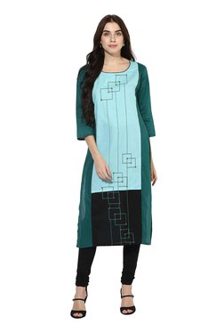 Mytri Green Printed Straight Kurta