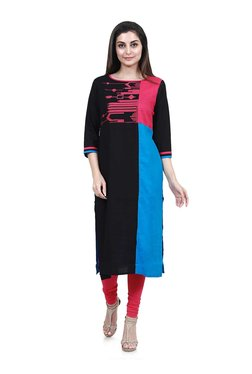 Mytri Black & Blue Embroidered Straight Kurta