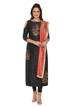 Soch Black Embroidered Silk Kurta With Churidar