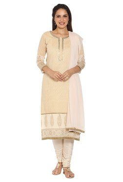 Soch Beige Printed Chanderi Kurta With Churidar