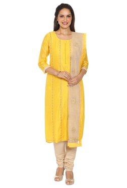 Soch Yellow & Beige Chanderi Kurta With Churidar