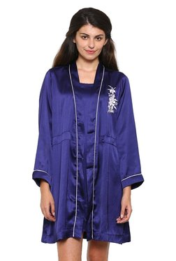 Mystere Paris Navy Satin Nighty With Robe