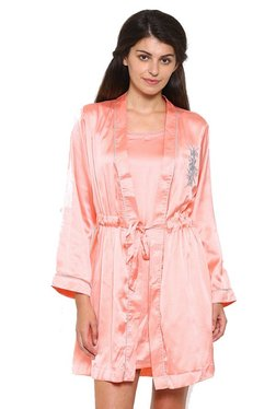 Mystere Paris Peach Satin Nighty With Robe