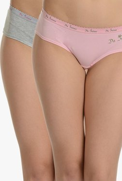 5a3bb1a4d09 Da Intimo Grey   Pink Textured Hipster Panty (Pack Of ...