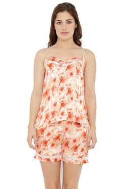 Mystere Paris Orange Floral Print Camisole & Shorts Set