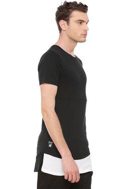 Kultprit Black Slim Fit Longline T-Shirt