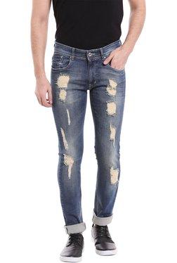 Numero Uno Dark Blue Skinny Fit Distressed Jeans
