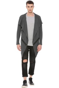 Kultprit Grey Slim Fit Waterfall Cardigan