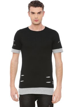 Kultprit Black Half Sleeves Distressed T-Shirt