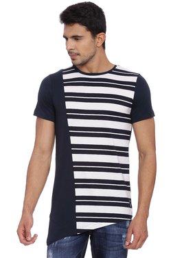 Kultprit Blue & White Striped Cotton T-Shirt