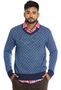 Red Chief Navy Printed Full Sleeves Regular Fit Sweater