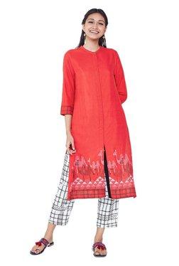 Global Desi Red Printed Rayon Viscose Kurta
