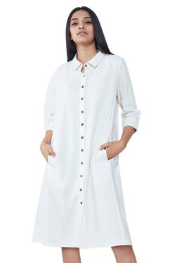 AND White Regular Fit Knee Length Shirt Dress