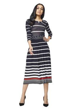AND Black Striped Midi Dress