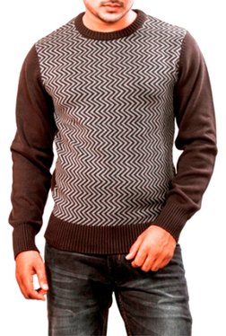 Red Chief Brown Full Sleeves Regular Fit Round Neck Sweater