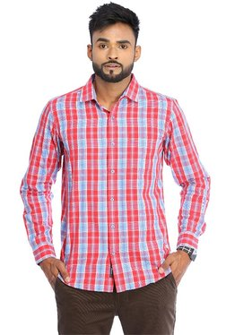 Red Chief Red Regular Fit Checks Shirt