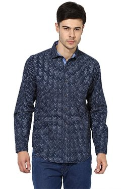 Red Chief Navy Cotton Printed Full Sleeves Regular Fit Shirt