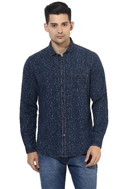 Red Chief Navy Printed Full Sleeves Regular Fit Shirt