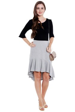 Globus Grey High Low Ruffled Hem Skirt