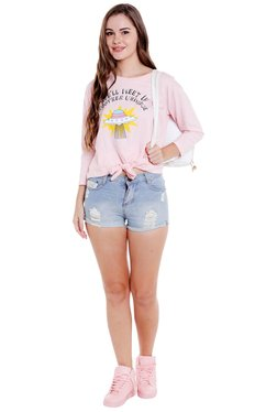 Globus Pink Printed Side Tie-Up T-Shirt