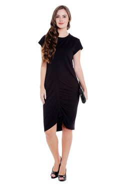 Globus Black Knee Length Tie Up Sheath Dress