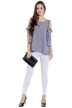 Globus Navy & White Checks Cold Shoulder Top