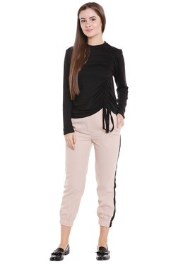 Globus Black Regular Fit Front Tie-Up Top