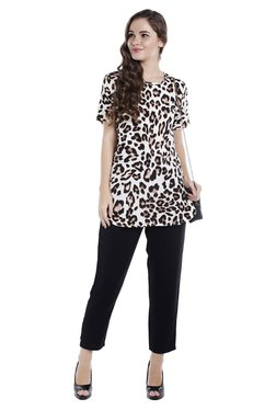 Globus Brown Animal Print Top
