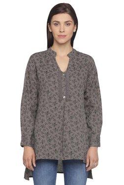 Mineral Dark Grey Floral Print Linen Tunic