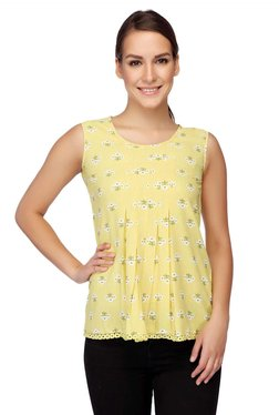 Mineral Lime Floral Print Top