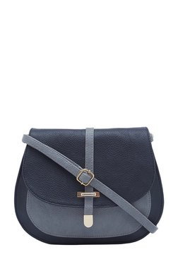 Esbeda Black & Grey Solid Saddle Sling Bag