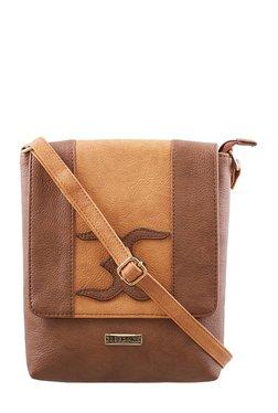 Esbeda Camel Brown & Tan Applique Flap Sling Bag