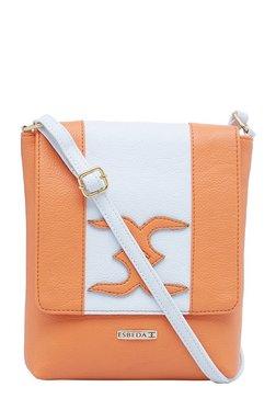 Esbeda Orange & White Applique Flap Sling Bag