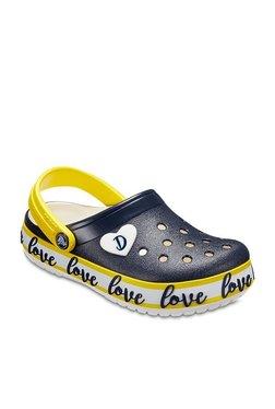 Crocs Kids Drew X Crocband Navy & Yellow Back Strap Clogs