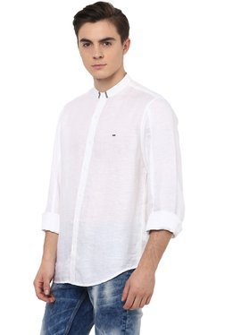 Spykar White Slim Fit Cotton Band Collar Shirt