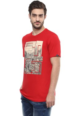 Spykar Red Slim Fit Printed Slim Fit T-Shirt