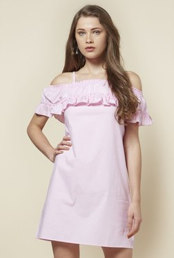 Zudio Pink Helen Cold-Shoulder Dress