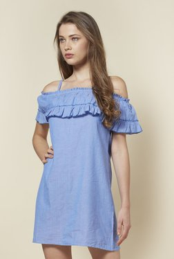 Zudio Blue Helen Cold-Shoulder Dress