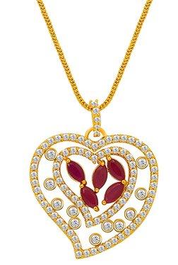 Mahi Golden Brass Ruby & CZ Curvy Heart in Heart Pendant