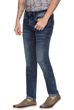 Greenfibre Dark Blue Solid Mid Rise Jeans