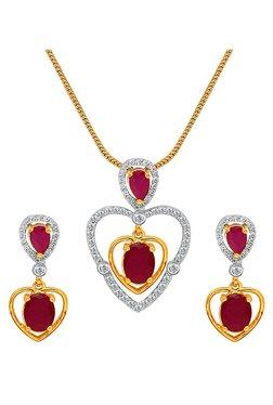 Mahi Golden Brass Heart Pendant Set