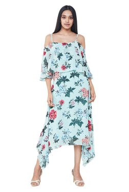 AND Mint Floral Print Midi Cold Shoulder Dress