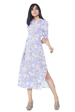AND Lavender Floral Print Midi Dress