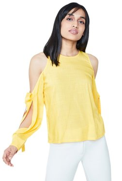 AND Yellow Textured Bow Cold Shoulder Top