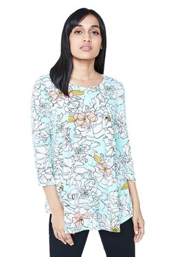AND Blue & White Floral Print Top