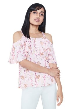 AND Blush Printed Cold Shoulder Top