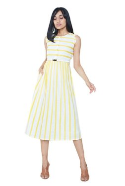 AND Yellow & White Striped Below Knee Dress