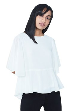 AND White Regular Fit Tie Up Peplum Top
