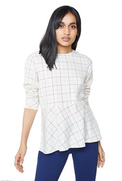 AND Off White Checks Peplum Top